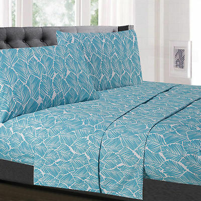 Tropical Leaf Pattern Teal 4-Piece 1500 Supreme Collection Sheet -