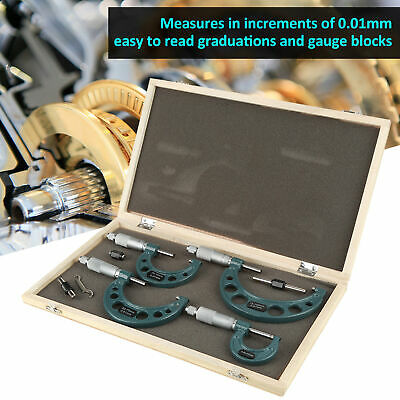 4pcs 0-100mm0-4 Metric Outside Micrometer Set Machinist Tool Carbide Wbox
