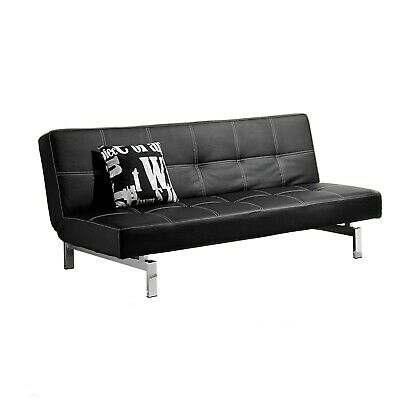 Sofá cama sistema clic clac, sofa polipiel patas cromadas, color Negro, Chic