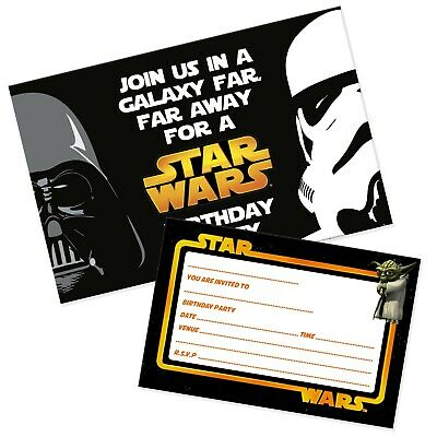 Star Wars Party Invitations Pack & Envelopes (WRITE ON) Free delivery