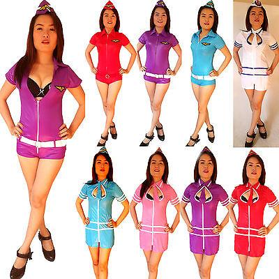SEXY Airforce Stewardess/Air-Hostess Mini-Kostüm/Kleid Uniform Cosplay Gr. - Air Force Uniform Kostüme