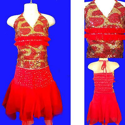 Kinder/Mädchen Cheerleader/Glitzergirl-Kostüm/Kleid Rot/Muster Gr. (Cheerleader Kostüm Muster)