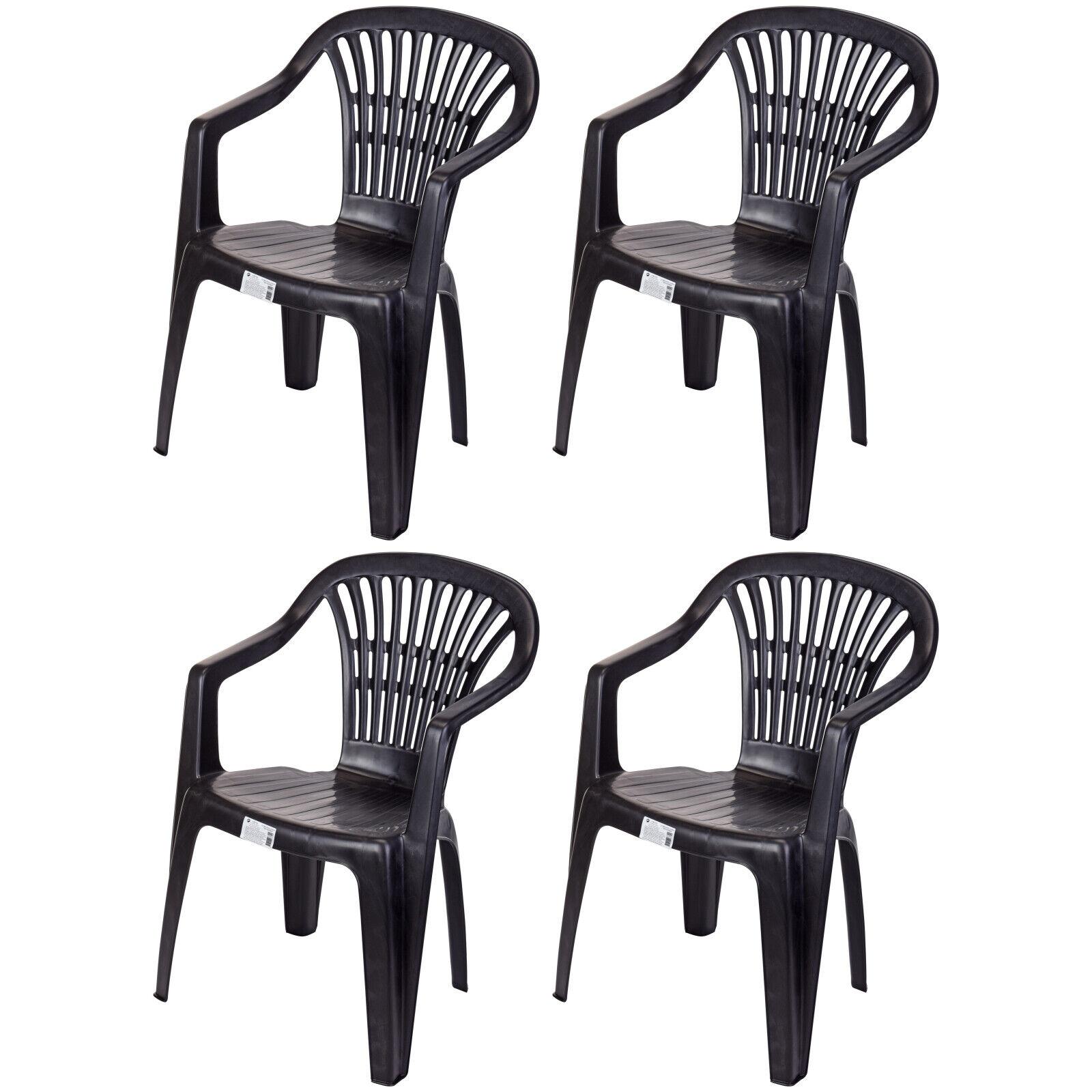 4x Gartenstuhl Bistrostuhl Balkonstuhl Stapelstuhl Stuhl Kunststoff Schwarz 0820