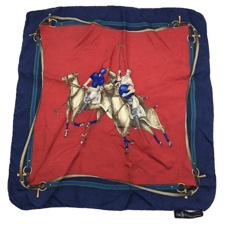 Ralph Lauren Scarf 100% Silk Square Handkerchief Horse Equestrian Polo Vtg 90