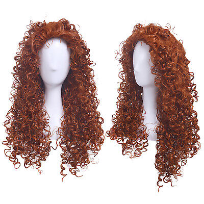 Long Brown Curly Wig Halloween (Halloween Brave Merida Long Curly Wavy Wave Orange Brown Cosplay Wig US)