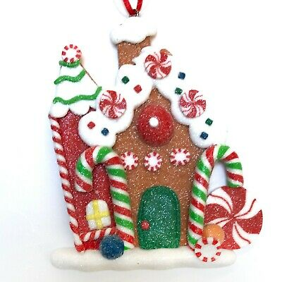 Gingerbread House Cookie Christmas Ornament Bakery Peppermint Candy Cane R ()