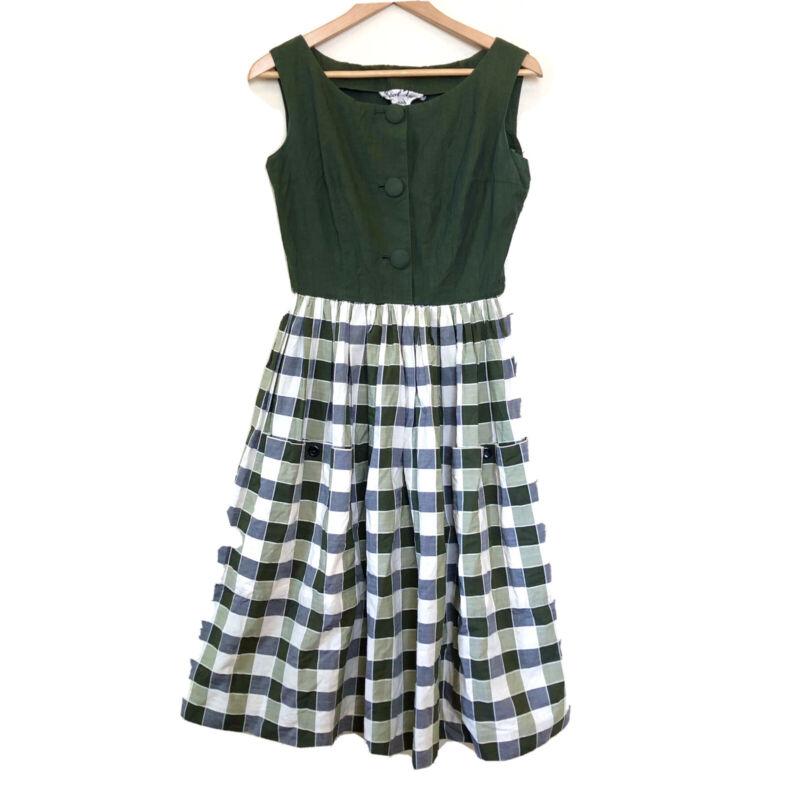 Vintage 1950s Marcel Fenez Paris Olive Shirtwaist Big Pockets Housewife Dress