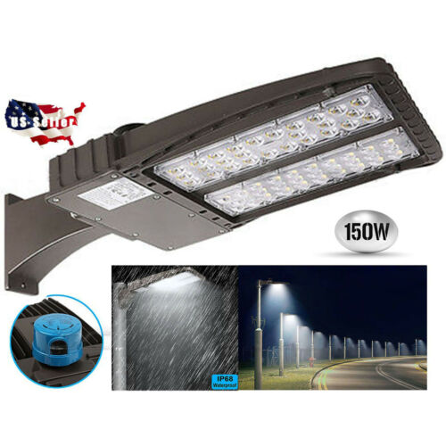 150W LED Shoebox Light Parking Lot Pole Commericial Building Warehouse Lighting