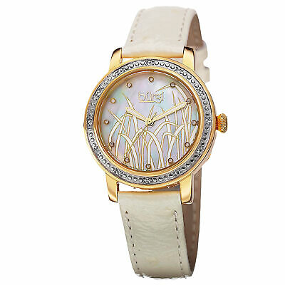 New Women's Burgi BUR096YGW Pattern MOP Diamond Dial White Leather Strap Watch