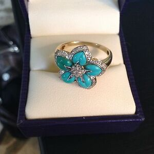 Turquoise Flower gold Ring