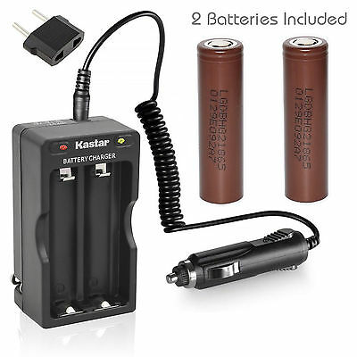 Charger W/Car charger & 2 x LG HG2 High Drain 20A Battery 3.7V 3100mAh Flat Top