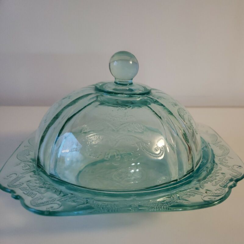 Indiana Glass RECOLLECTION Madrid TEAL Covered Butter Dish Replacement