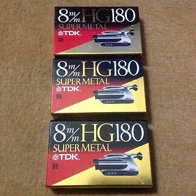 "TDK 8mm HG180 180min ""Super Metal"" New Video Cassette Tape x 3 (Made In Japan)"
