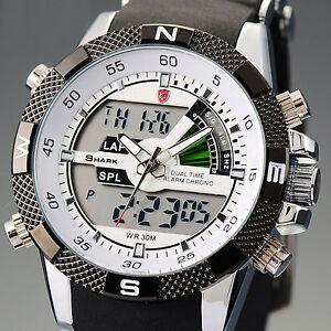 SHARK Dual LCD Digital Herrenuhr Herren Sport Quarzuhr Armbanduhr Uhr Watch NEU