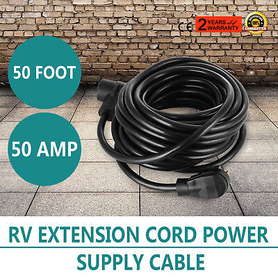 50ft 50amp RV Power Supply Cable for Motorhome Handles Electrical Male HOT