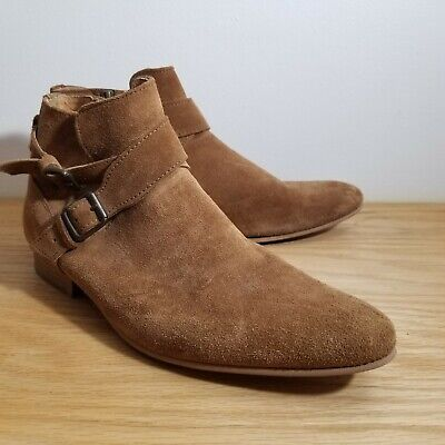 House Of Hounds Suede Jodphur Boots Mens Ankle Size 41 US 8 Side Zip Strap Buckl
