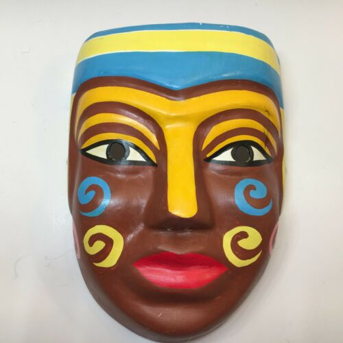 Chinese Paper Mache Theater Mask Hand Painted Brown Face With Red Lips