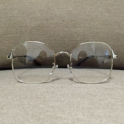 Silver Oversized Metal Frame Vintage Fashion Glasses 60s 80s