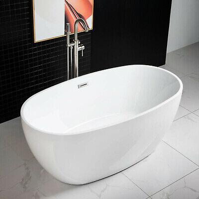 Woodbridge 59''  Freestanding Bathtub B-0018 with Brushed Nickel overflow& drain