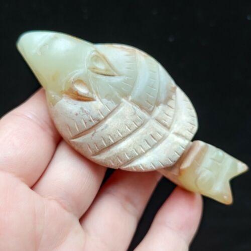 Chinese jade,collectibles, manual sculpture,Ancient bird beas statue pendantH350
