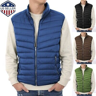 Mens Puffer Vest Jacket Bubble Coat Quilted Padded Outwear Winter Light Weight Mens Bubble Vest