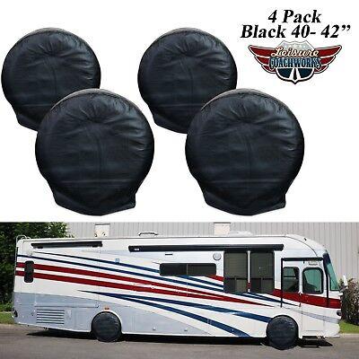 "4 Pack Black RV Camper Car Motorhome Truck Tire Wheel Covers 40-42"" Diameters-6B"