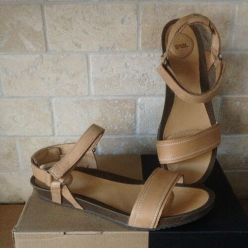 TEVA YSIDRO STITCH TAN LEATHER WEDGE SANDALS SIZE US 10.5 WO