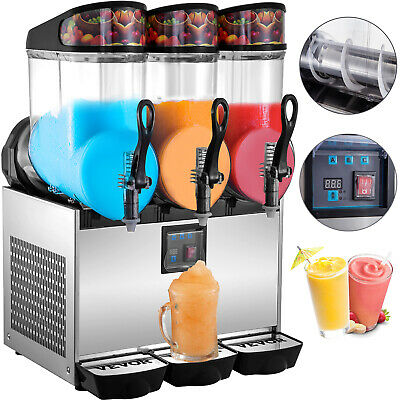 Commercial Frozen Drink Machine Slushie And Margarita Maker 3 X 3.2 Gal Pc Tanks