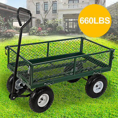 660LBS Heavy Duty Utility Garden Wagon Cart Dump Steel Wheelbarrow Lawn Yard