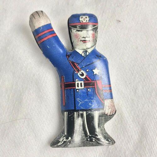 Police Lithographed Tin Toy Traffic Cop Litho Vintage Metal Cracker Jack Prize