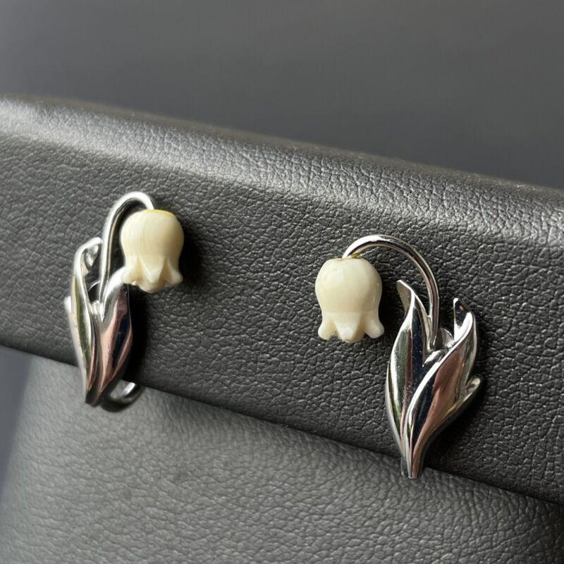 Vintage Sterling Silver Carved Bovine Tulip Flower Earrings Clip Screw On Dainty
