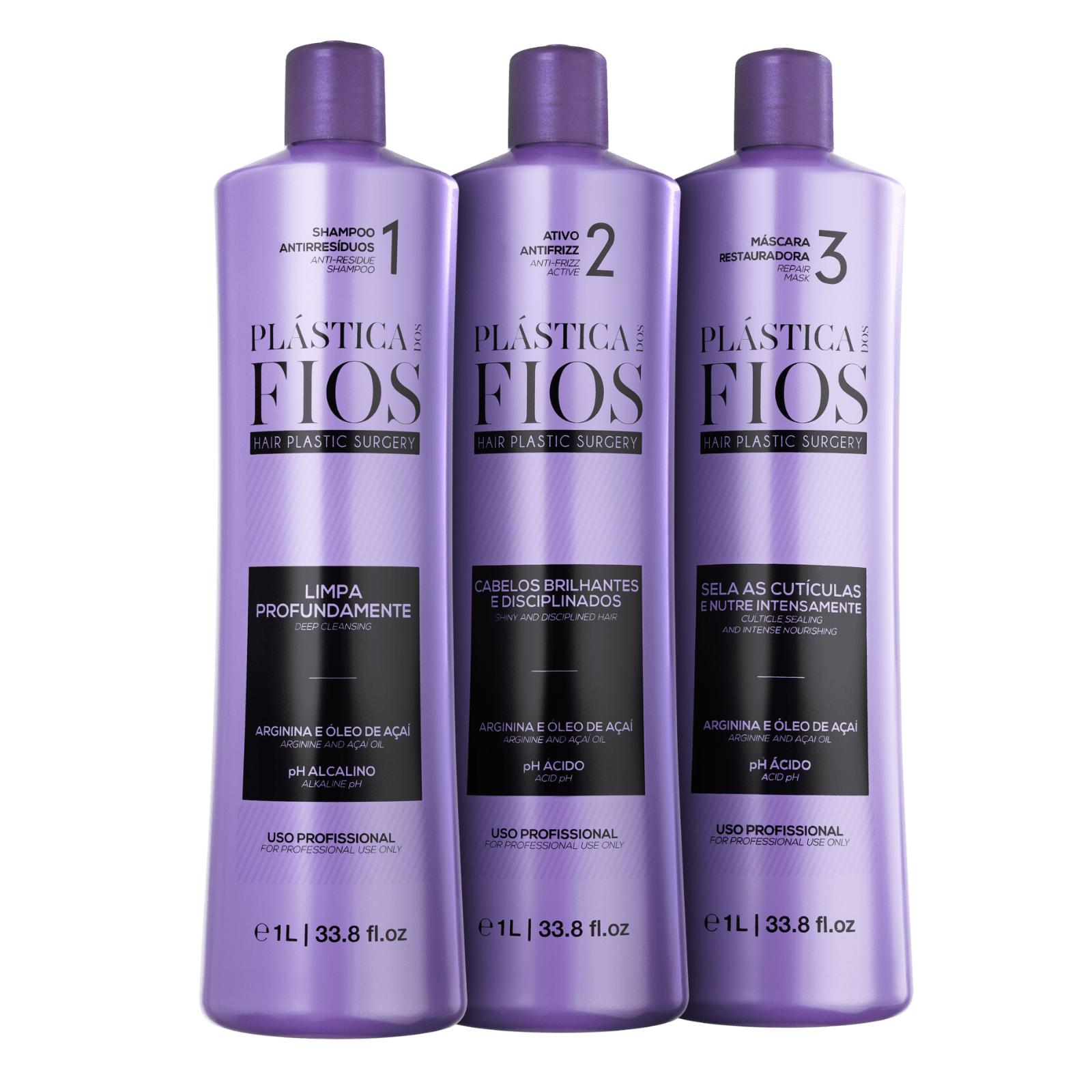 Plastica Dos Fios 3x1000ml Brazilian Keratin Treatment - Cad