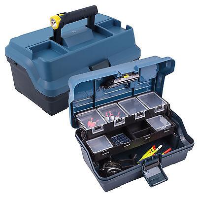 Angelkoffer mit integrierter Beleuchtung, Maße: 325x200x165 mm, blau für Angler