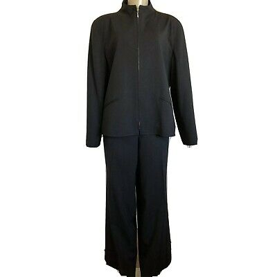 Ralph Lauren 14 Heathered Black Light Worsted Wool Pant Suit Zip Jacket Office