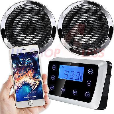 Waterproof Bluetooth Motorcycle Audio Stereo Speaker System MP3 Radio USB Harley