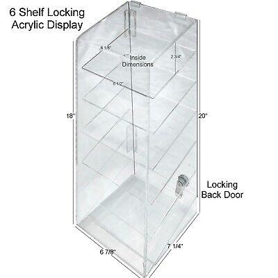 Hi Quality Clear Acrylic Retail Display Case - 6 Shelf W Security Lock Usa Nice
