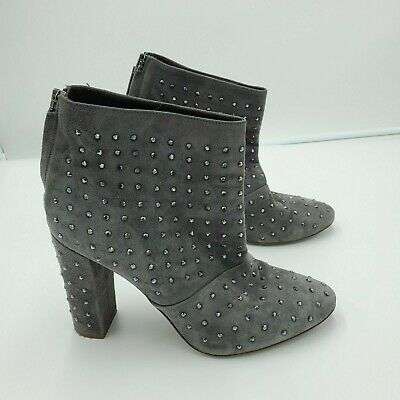J.Crew Women's Adele Crystal Suede Leather Zip Back Ankle Gray Boots Sz 8.5