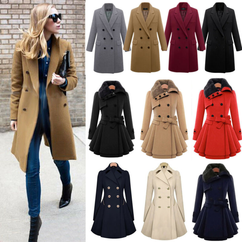 Women Winter Warm Slim Suit Double Breasted Long Trench Coat