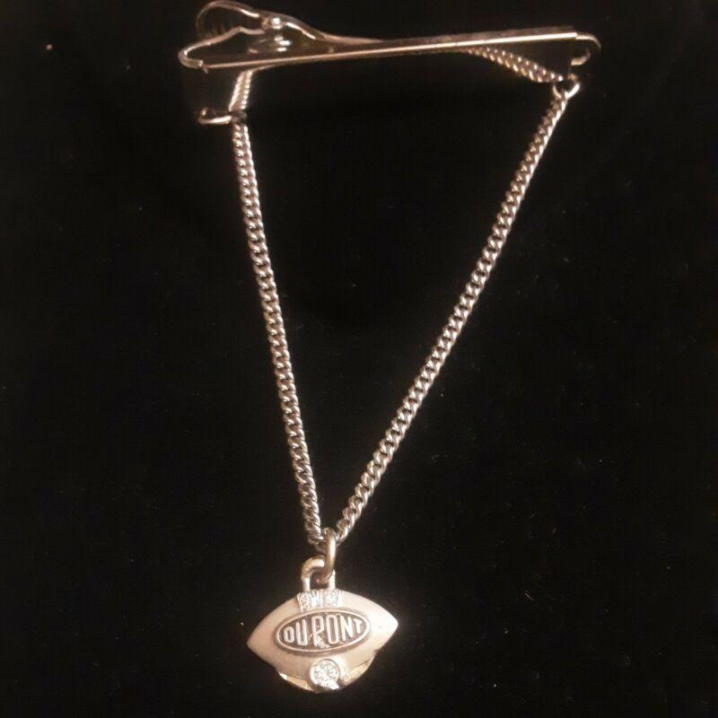 Vintage 14k White Gold Dupont Service Tie Clip With Diamonds Pendant 12k GF Bar