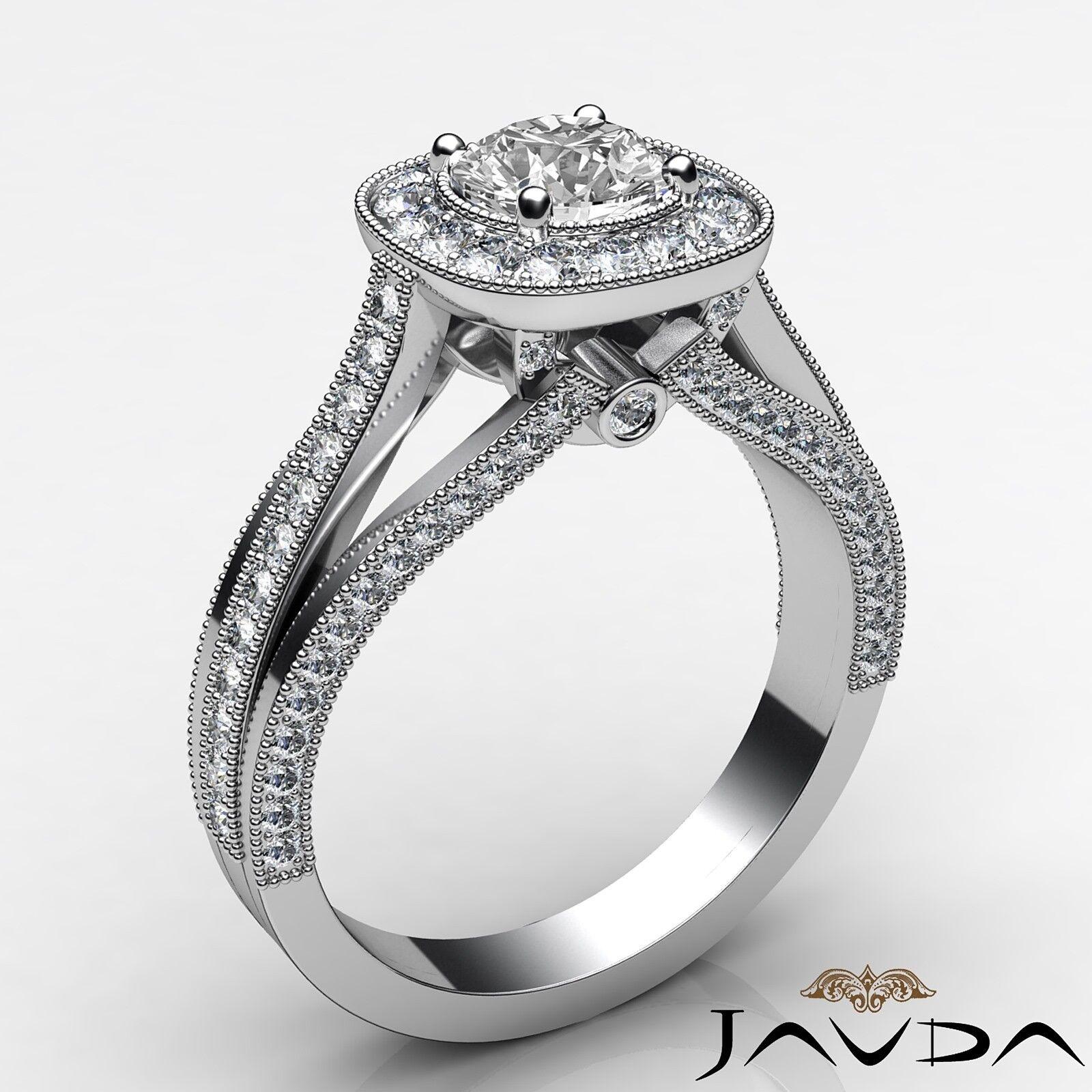 1.6ctw Bridge Accent Round Diamond Engagement Ring GIA E-VVS2 White Gold Rings 1