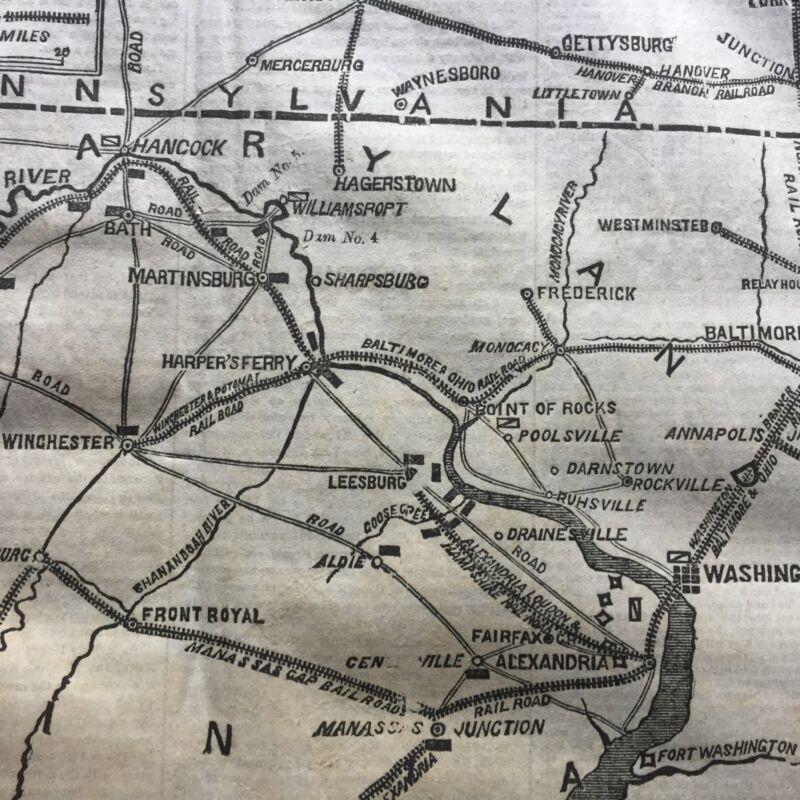 BEST 1862 CIVIL WAR newspaper w B&O RAILROAD MAP Maryland Virginia HARPERS FERRY