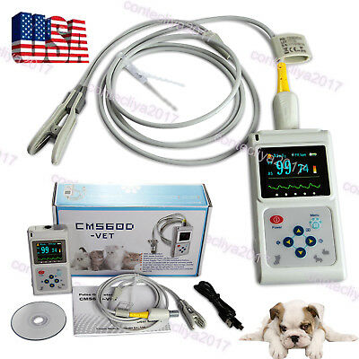 Veterinary Pulse Oximeter Spo2 Heart Rate Monitor Vet Eartongue Probe Pc Usb Sw