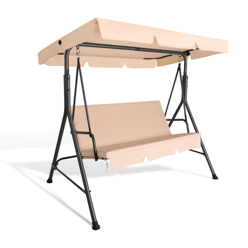 3-Person Outdoor Patio Swing Chair Hanging Swing Glider w/ Removable Cushion