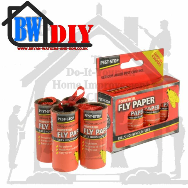 Pest Stop Super Strong Fly Papers / Trap, Pest Control Catch 100 Fly's Per Tube