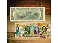 $2 Bill US Legal Tender Street Artist Graffiti BANKSY ROBOT TAGGING BARCODE