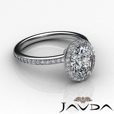 2 ct Oval Diamond Vintage Engagement Halo Classic Ring H VS2 14k White Gold GIA 2