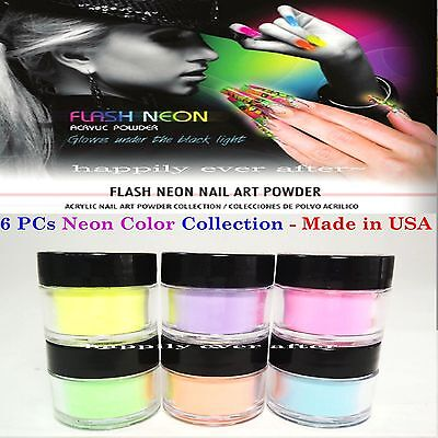 Mia Secret Acrylic Powder Set of 6 PCs - FLASH NEON GLOW UNDER THE BLACK LIGHT!