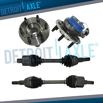 (2) Complete Front CV Axle Shafts & Front Wheel Hub & Bearing Set - FWD  Complete Hub Axle