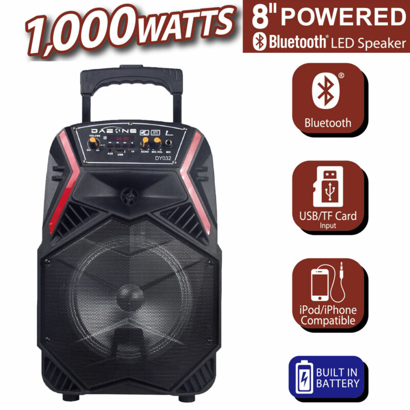 """8"""" Professional Party Speaker Bass Led Portable Stereo Light Up Tailgate Loud"""