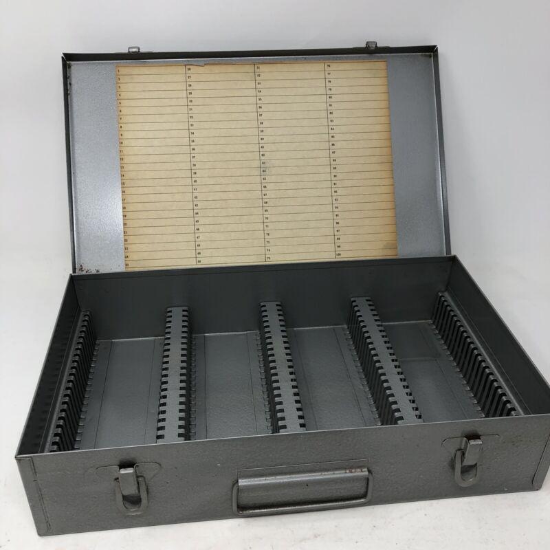 +vtg Logan Metal 35mm Slide File No. 225 Box Holds 100 Blank Chart 2 1/4x2 1/4
